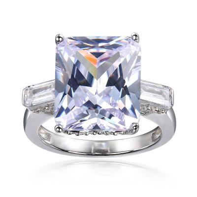 Strahlenden Schliff Weißer Saphir Sterling Silber 3-Stein Verlobungsringe