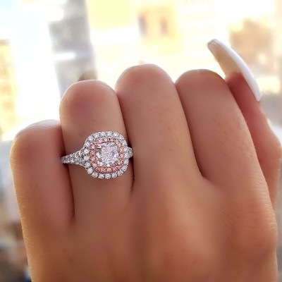 Kissenschliff Weißer und Rosa Saphir Sterling Silber Doppelt Halo Verlobungsring