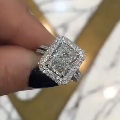 Strahlenden Schliff Weißem Saphir 925 Sterling Silber Doppelt Halo Verlobungsringe