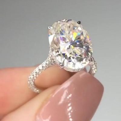 Ovale Schliff Weißer Saphir 925 Sterling Silber Verlobungsringe