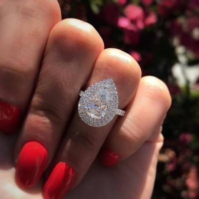 Tropfen Weißer Saphir Silber 925 Double Halo Verlobungsringe