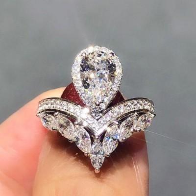 Birne Schliff Weißem Saphir 925 Sterling Silber Halo Verlobungsringe