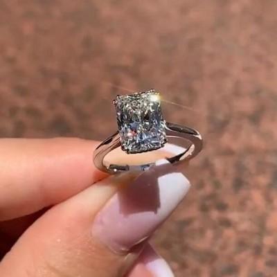 Prinzess Schliff 925 Silber Sterling Zirkonia Klassische Verlobungsringe