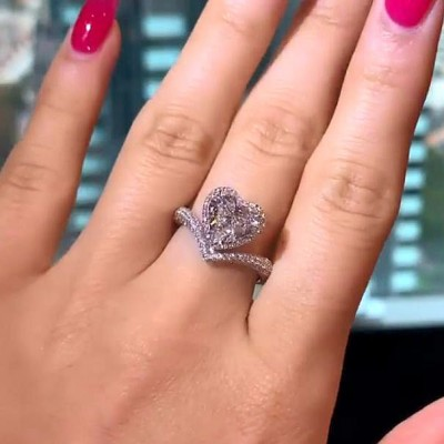 Herz Schliff  Weißer Saphir 925 Sterling Silber Halo Ringe