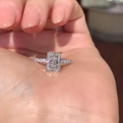 Strahlenden Schliff Weißer Saphir 925 Sterling Silber Verlobungsringe