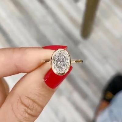 Ovale Schliff Weißer Saphir Lünette Einstellungen 925 Sterling Silber Gold Verlobungsringe