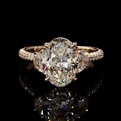 Ovale Schliff Weißer Saphir 925 Sterling Silber Gold 3-Stein Verlobungsringe