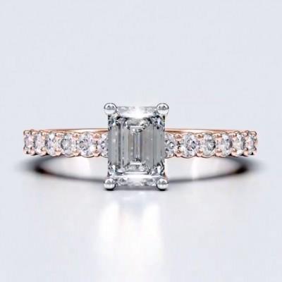 Smaragd Schliff Weißer Saphir Roségold 925 Sterling Silber Verlobungsringe