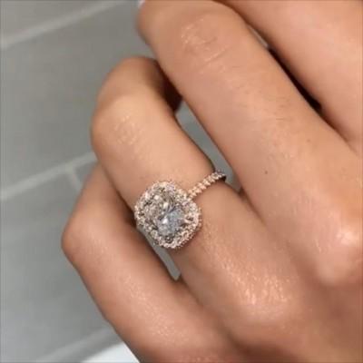 Strahlenden Schliff Weißer Saphir 925 Sterling Silber Roségold Halo Verlobungsringe