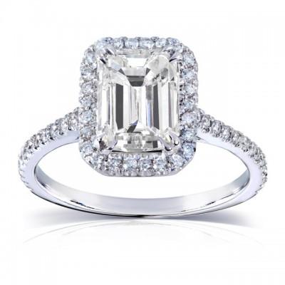 Smaragd Schliff Weißer Saphir 925 Sterling Silber Halo Verlobungsringe