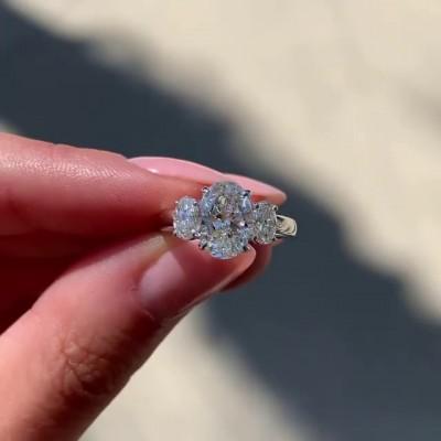 Ovale Schliff Weißer Saphir 925 Sterling Silber 3-Stein Verlobungsringe