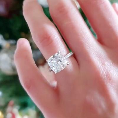 Kissenschliff Weißer Saphir 925 Sterling Silber Klassisch Verlobungsringe
