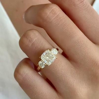 Kissenschliff Weißer Saphir 925 Sterling Silber Gold 3-Stein Verlobungsringe