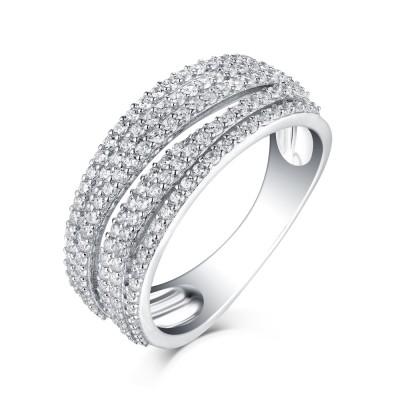 Runder Schliff aus Weißemem Saphir 925 Sterling Silber Memoire Ringe