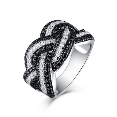 Schwarzer und Weißemer Saphir S925 Sterling Silber Memoire Ringe