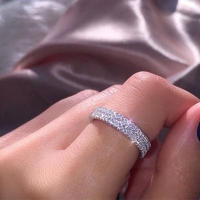 Rounder Schliff Weißer Saphir 925 Silber Sterling Damen Hochzeitsband