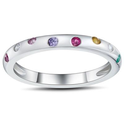 Mehrfarbiger RundSchliff 925 Sterling Silber Damen Memoire Ringe