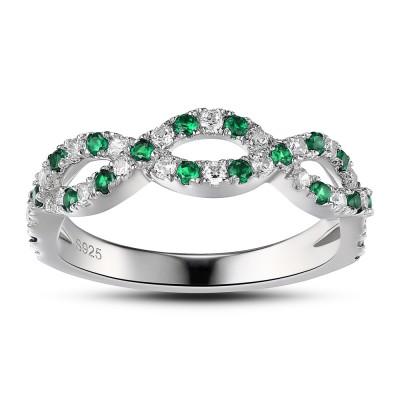 Emerald Green 925 Verlobungsring für Frauen