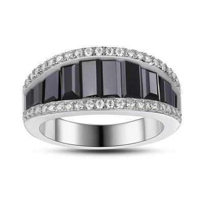 Schwarzer Saphir 925 Sterling Silber Damen Memoire Ringe