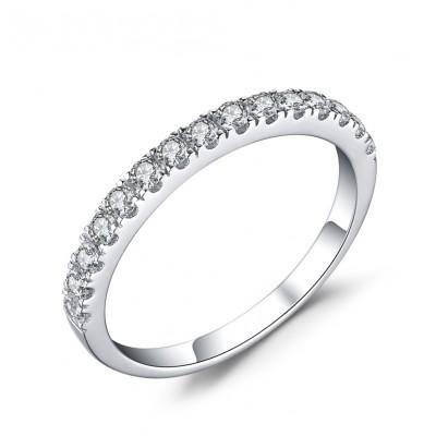 Schlichte Runder Schliff Weißemer Saphir 925 Sterling Silber Verlobungsringe