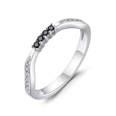 Runder Schliff aus Schwarzem Saphir 925 Sterling Silber Damen Memoire Ringe