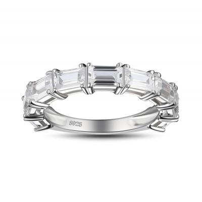 SmaragdSchliff Weißemer Saphir 925 Sterling Silber Damen Memoire Ringe