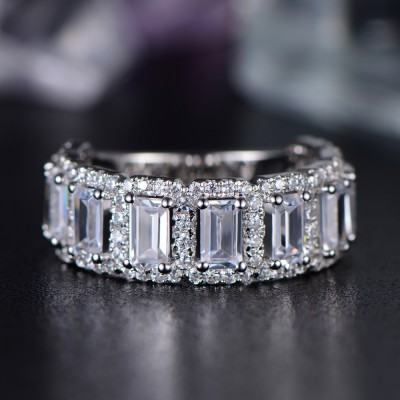 Radiant Schliff Weißem Saphir 925 Sterling Silber Damen Memoire Ringe