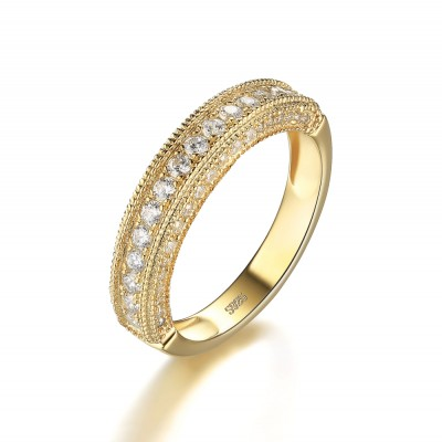 Runder Schliff Weißemer Saphir Gelbgold 925 Sterling Silber Damen Memoire Ringe