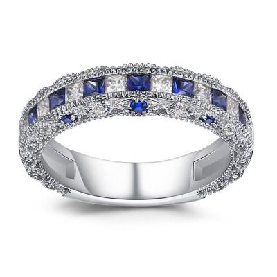 Princess Schliff saphir 925 Sterling Silber Damen Memoire Ringe