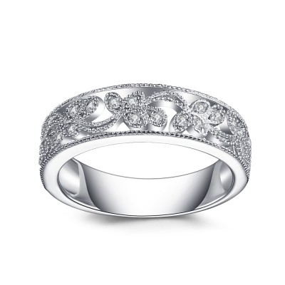 Runder Schliff aus Weißemem Saphir 925 Sterling Silber Damen Memoire Ringe