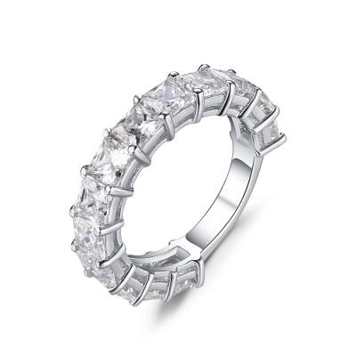 Princess Schliff Weißem Saphir 925 Sterling Silber Damen Memoire Ringe