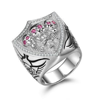 Einzigartige rosa Saphir Sterling Silber Totenkopf-Ringe