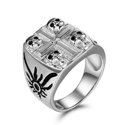 Schwarzer Zirkonia Sterling Silber Four Totenkopf-Ringe