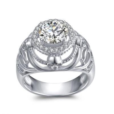 Runder Schliff aus Weißemem Saphir 925 Sterling Silber Totenkopf-Ringe