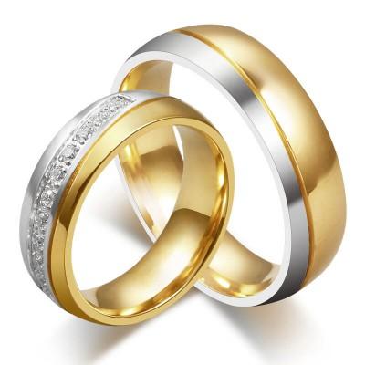 Elegantes Gelbgold und Silber Titan Zirkonia Versprechen Paarringe