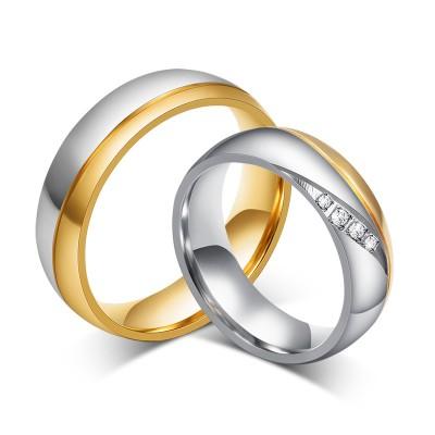 Mode Gelbgold und Silber Titan Zirkonia Versprechen Paarringe