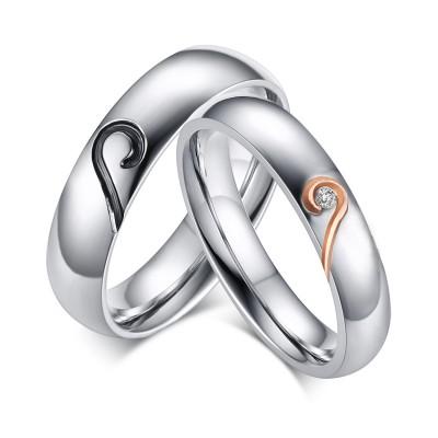 Herz Design Titan Zirkonia Versprechen Paarringe