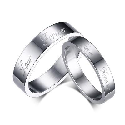 Liebe für immer Silber Titan Versprechen Paarringe
