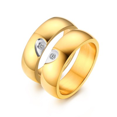Elegantes Herz Design Gelbgold Titan Zirkonia Versprechen Paarringe