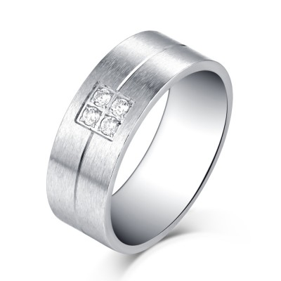 Schlichte Design Silber Titan Zirkonia Herrenring
