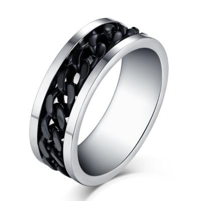 Schwarze Chain Design Silber Titan Herrenring