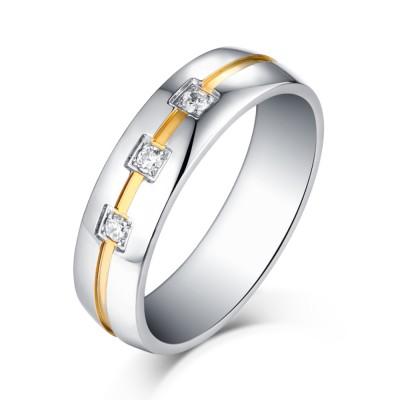 Princess Schliff Zirkonia Silber und Gelbgold Titan Wedding / Verlobungsringe