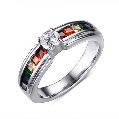 Regenbogen-bunter Edelstein-Silber-Titanstahlfrauen-Verlobungsring