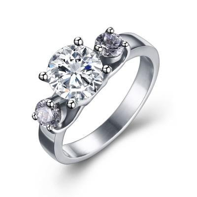 Rundschnitt Edelstein Silber Titan Stahl Frauen Verlobungsring