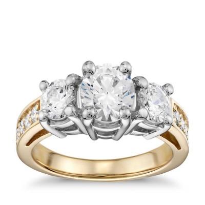 KissenSchliff Zirkonia Gelbgold 925 Sterling Silber Verlobungsringe