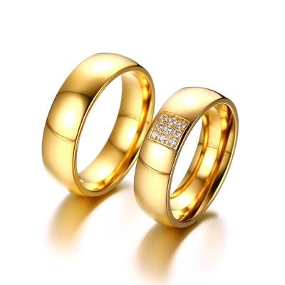 Weißemer Saphir Gelbgold Titan Versprechen Paarringe