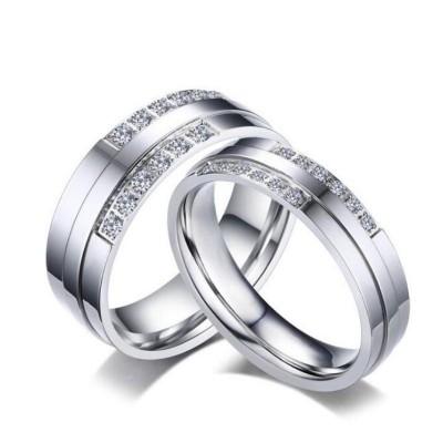 Runder Schliff aus Weißemem Saphir Silber Titan Versprechen Paarringe