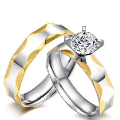 Titan Gelbgold & Silber Weißem Saphir Versprechen Paarringe