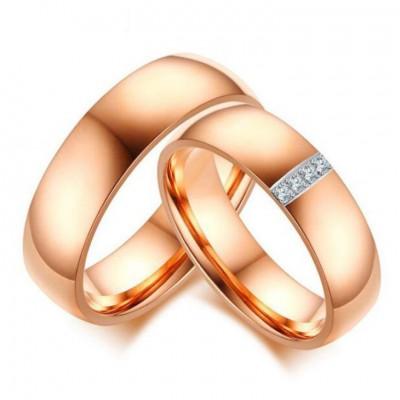 Titan RoséGelbgold Weißem Saphir Versprechen Paarringe