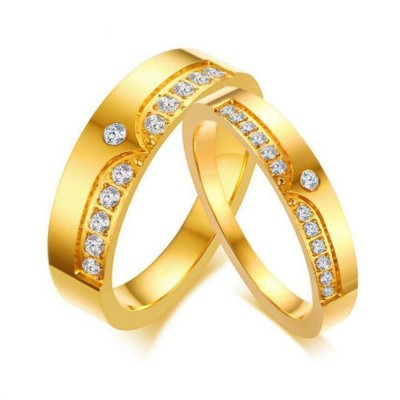 Titan Weißem Saphir Gelbgold Versprechen Paarringe